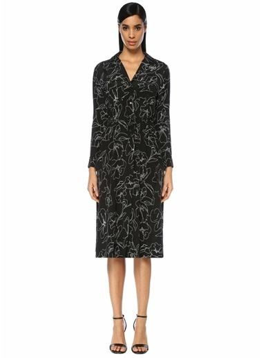 Beymen Collection Çiçekli Midi Elbise Siyah
